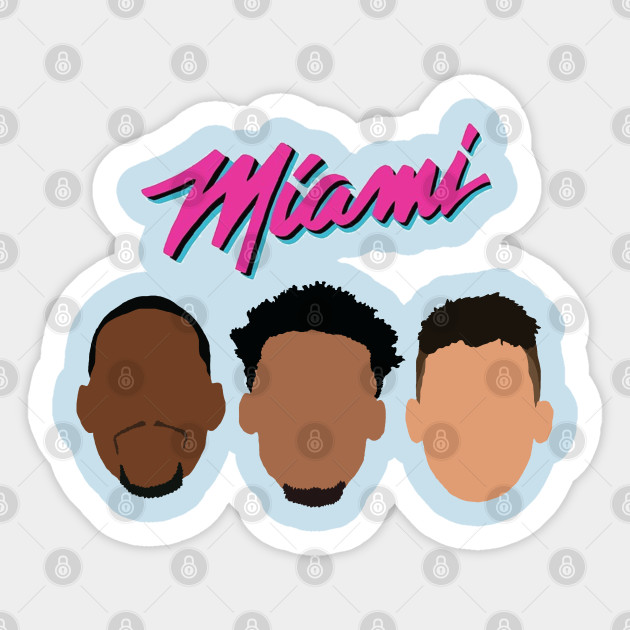 Miami Heat Jimmy Butler Tyler Herro And Bam Adebayo Miami Vice Design Miami Heat Sticker Teepublic