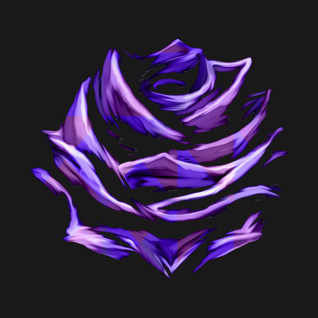 Purple Blue Rose Abstract Art Flower Colorful Brush Painting