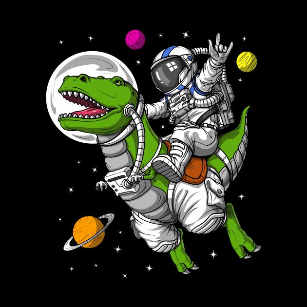 Space Astronaut Riding T-Rex Dinosaur