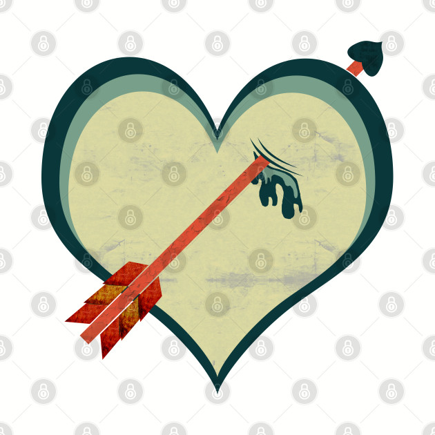 Grunge retro arrow through heart art