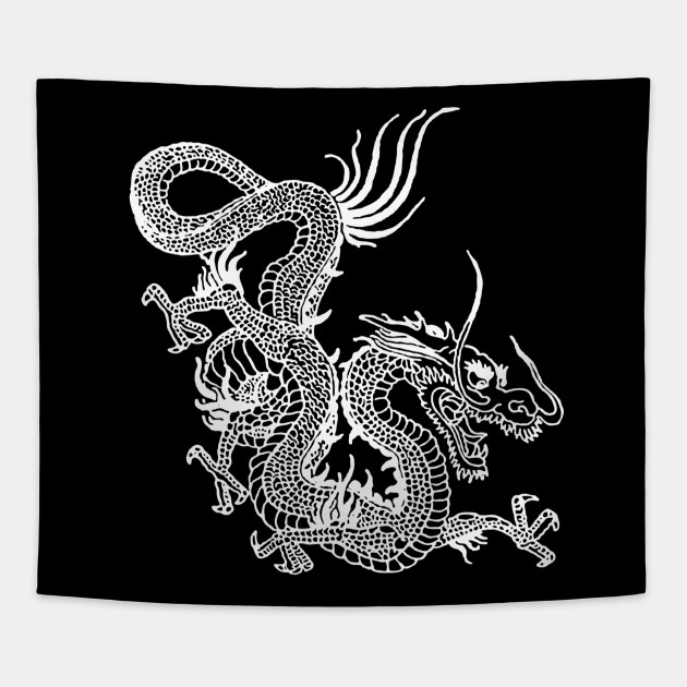 White Chinese Dragon Tapestry