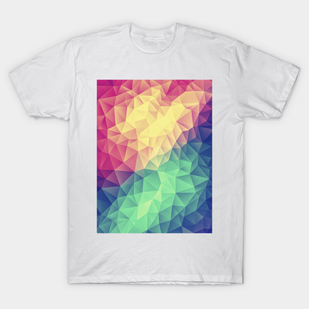 a00aabed Abstract Multi Color Cubizm Painting (Color Bomb - Low Poly Pattern) T-Shirt