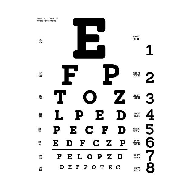 Limited Edition Exclusive Snellen Eye Test Chart Snellen Eye Test