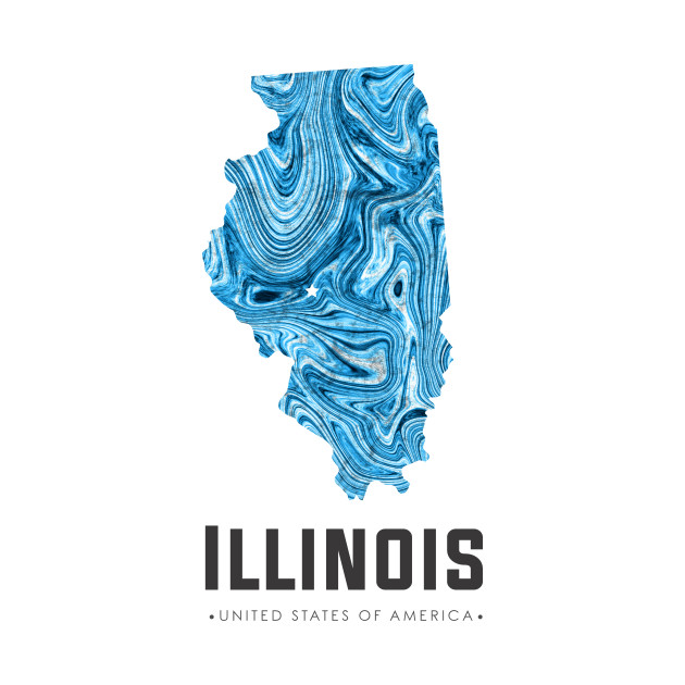 Illinois state map abstract blue