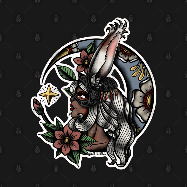 Fran from Final Fantasy 12 (FFXII) in American Traditional Tattoo Portrait Style
