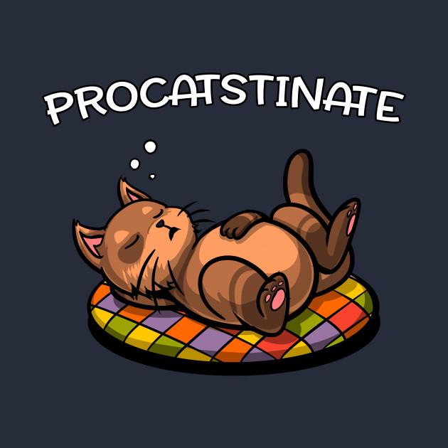 Procatstinate Cute Lazy Cat Funny Pun Joke