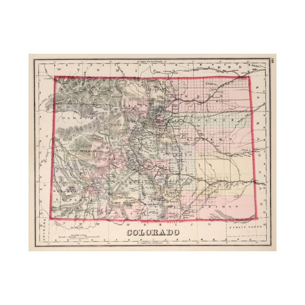 Vintage Map Of Colorado 1884 Colorado Map Kids T Shirt Teepublic