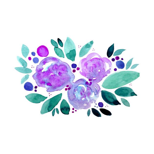 Watercolor flower bouquet - purple and green - Flower Bouquet - T ...