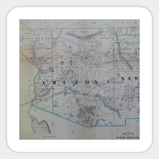 Vintage Map of Arizona (1866)