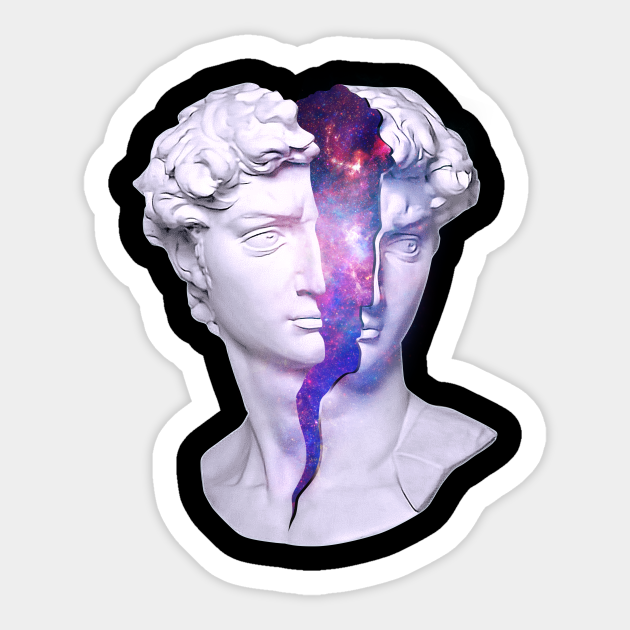 David Greek Statue Vaporwave Aesthetic Outer Space Galaxy