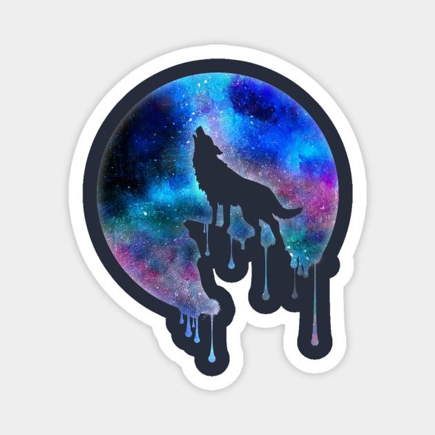 Howling Wolf Full Moon Wall Sticker WS-32651