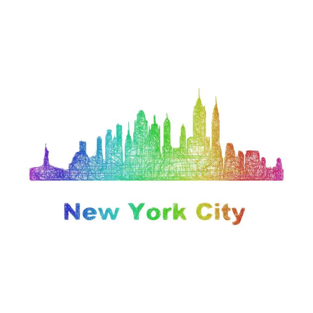 Rainbow New York City skyline