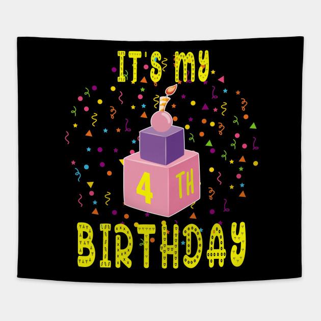 4Th Birthday Shirt 4 Years Old Kids Gift Blocks Bricks Tee Tapestry