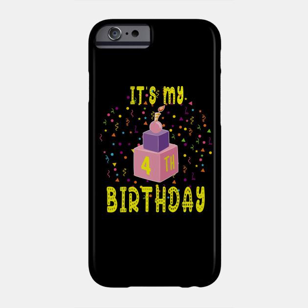 4Th Birthday Shirt 4 Years Old Kids Gift Blocks Bricks Tee Phone Case