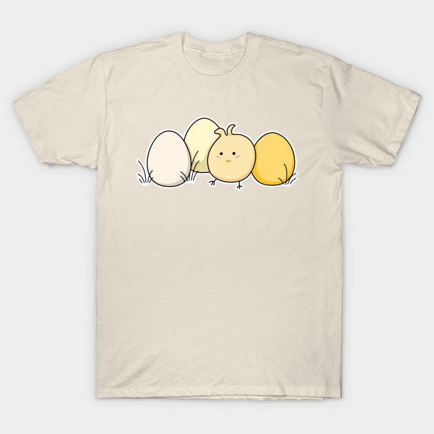 Cute Kawaii Easter Chick and Eggs