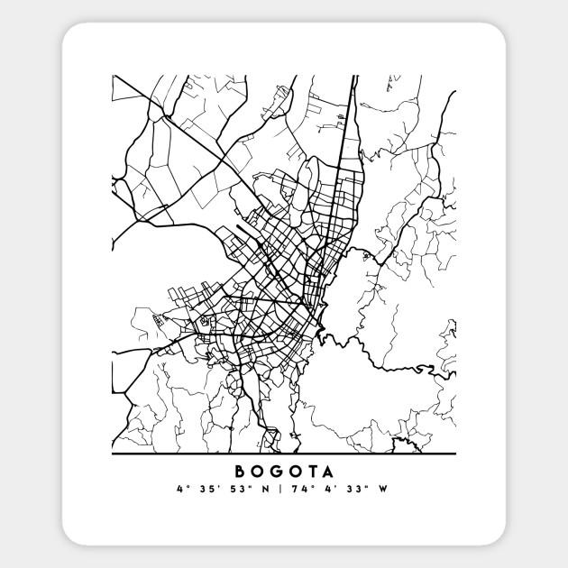 BOGOTA COLOMBIA BLACK CITY STREET MAP ART