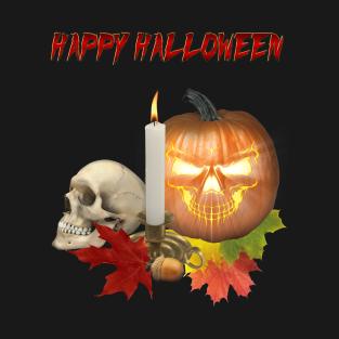 75d6c2ec Happy Halloween Pumpkin Skull T-Shirt