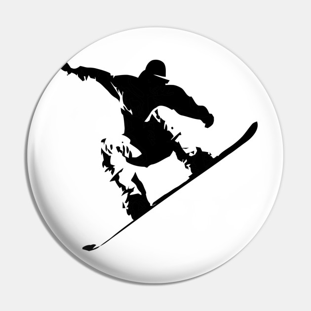 Snowboarding Black on White Abstract Snow Boarder