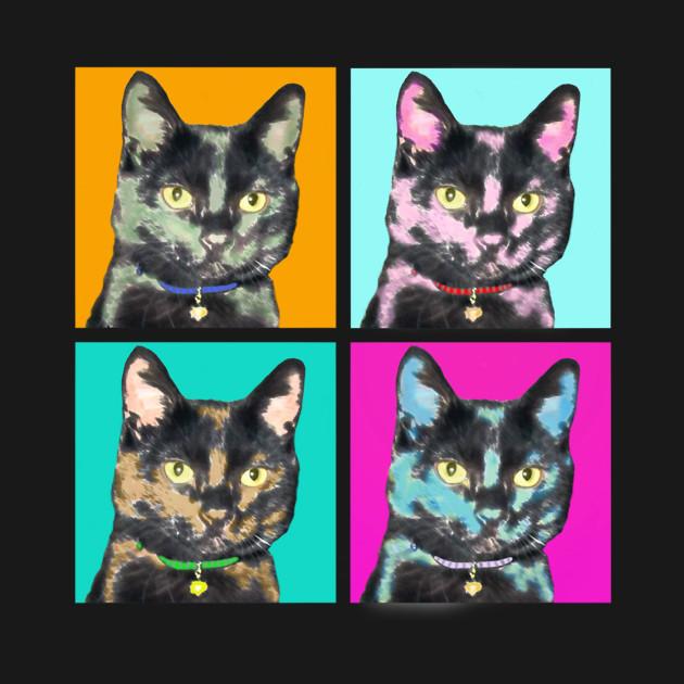 black cat pop art cat onesie teepublic