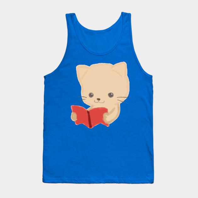 Cute Cat Reading Book Funny Emoji Bookworm Gift