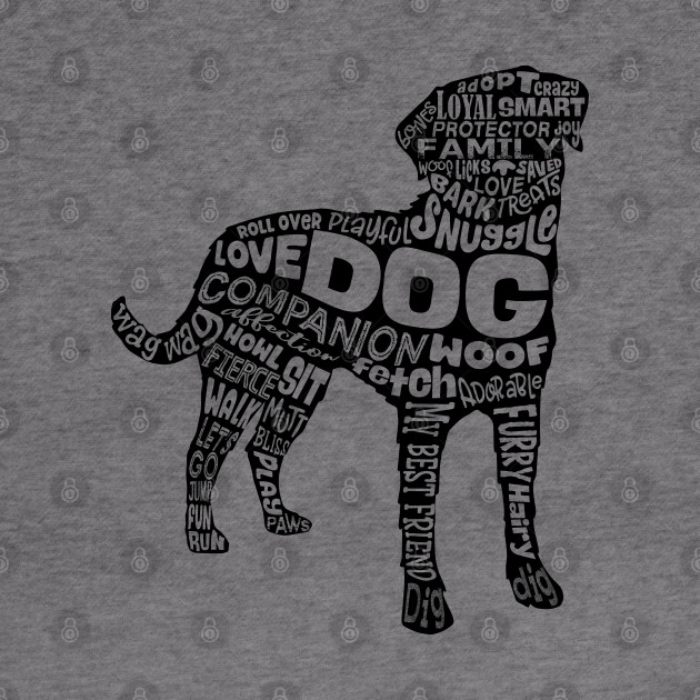 Dog Silhouette Word Cloud (Black)