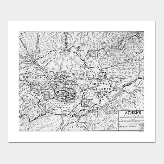 Vintage Map of Athens Greece (1911) - Athens Map - Posters and Art on