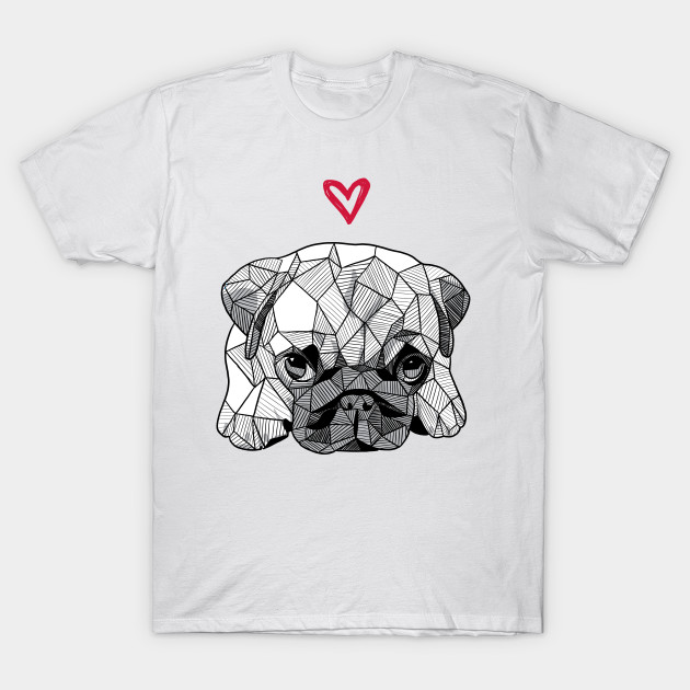 Sketchy Geometric Baby Pug Puppy