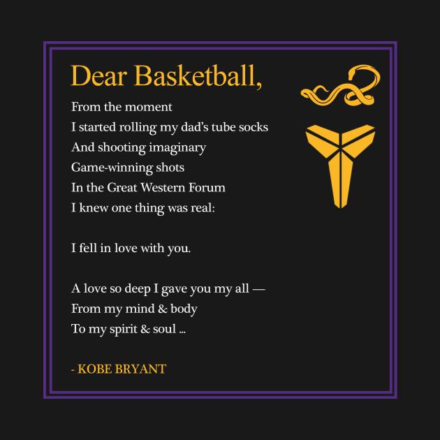 Beautiful DEAR BASKETBALL by Kobe Bryant - Kobe Bryant - T-Shirt | TeePublic BQ62
