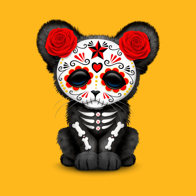 Red Day of the Dead Sugar Skull Panther Cub