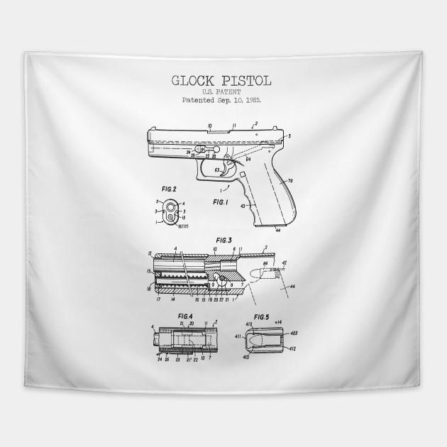 GLOCK PISTOL patent - Pistol - Tapestry | TeePublic on