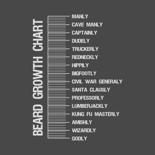 Beard length measuring chart t-shirt t-shirts