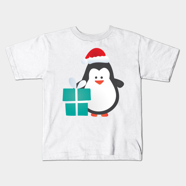 4db69e05af4d4 Cute Christmas Penguin with Gift and Santa Hat - Penguin - Kids T ...