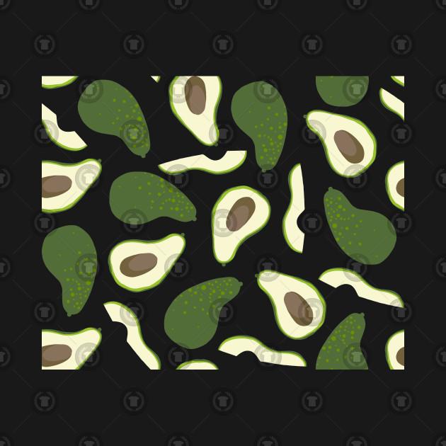 Avocado Fruit Engraved Style