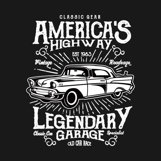 America's highway, legendary garage - Awesome vintage car lover Gift