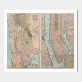 Vintage New York City Map Wall Art TeePublic - New york city map wall art