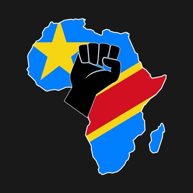 Congo On Africa Map.Democratic Republic Of Congo Flag Africa Map Raised Fist