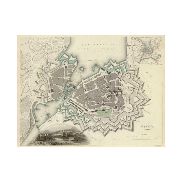 Vintage Map of Geneva 1841 Geneva Map TShirt TeePublic