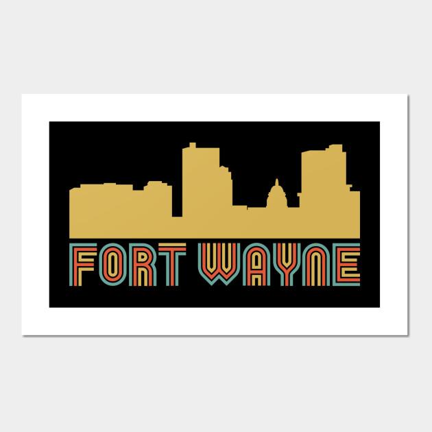 Vintage Style Fort Wayne Indiana Skyline - Fort Wayne - Wall Art ...