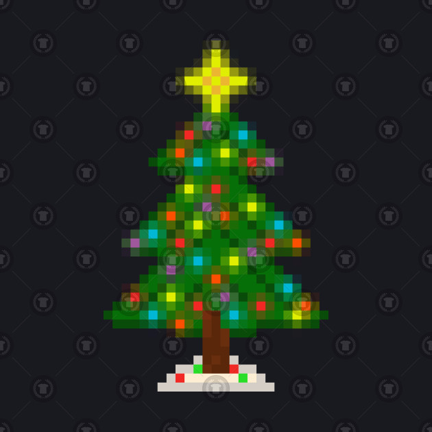 ... Pixel Christmas Tree with Glowing Lights (Black)