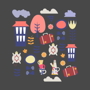 Travel pattern t-shirts