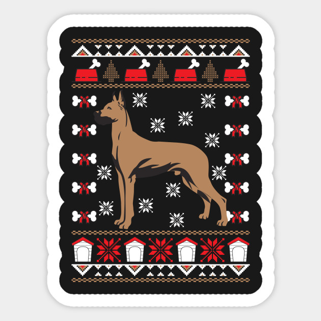 Great Dane Ugly Christmas Sweater Holiday - Birthday - Sticker ...