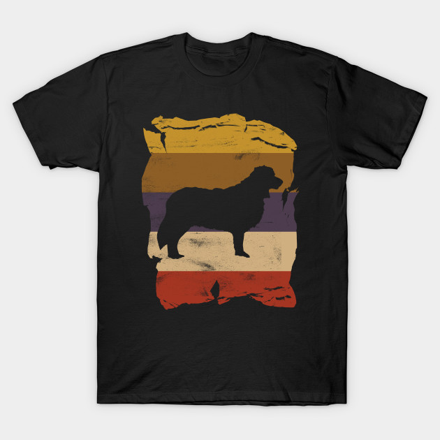 Border Collie Distressed Vintage Retro Silhouette T-Shirt