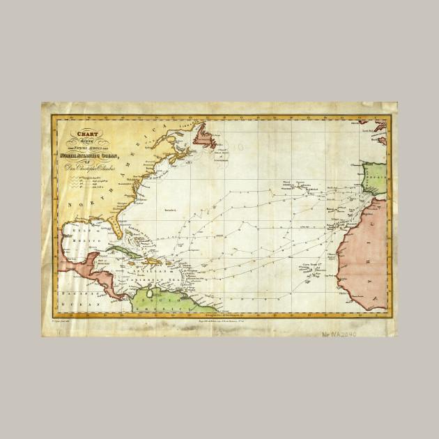 Vintage Christopher Columbus Voyage Map (1828) - Christopher ... on