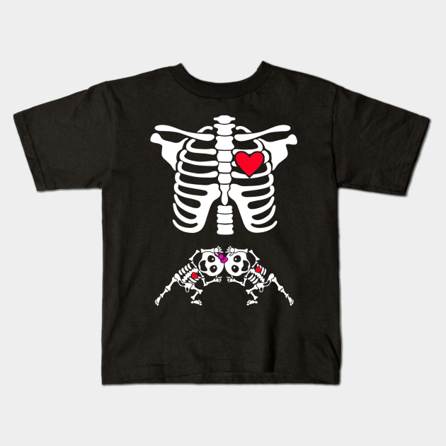 4068e5bb9 Pregnant Skeleton Twin Costume Halloween Shirt boy and girl Kids T-Shirt