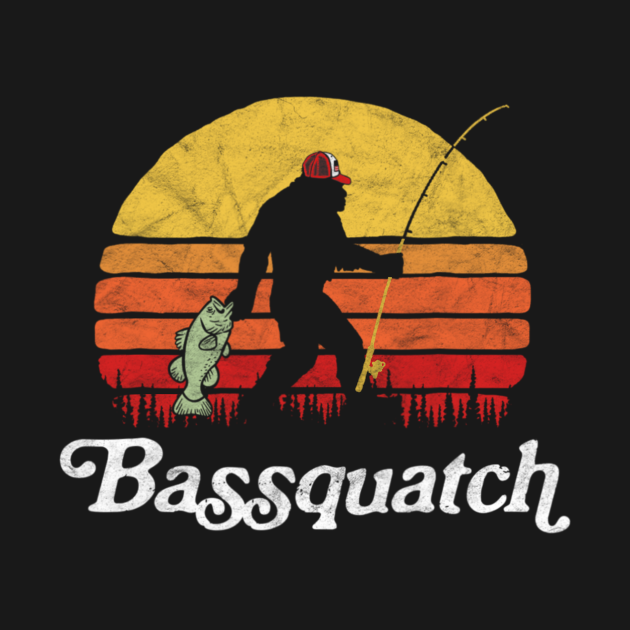 Bassquatch Funny Bigfoot Fishing Outdoor Retro