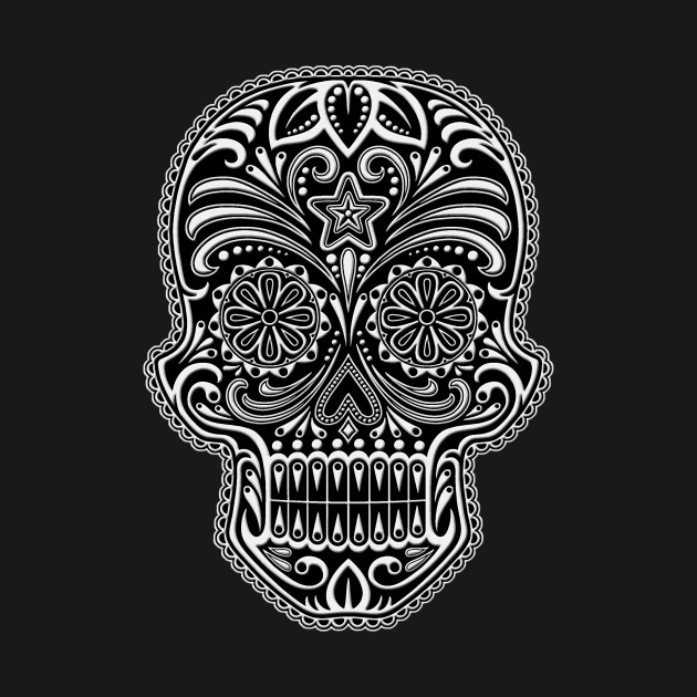 Intricate White and Black Sugar Skull