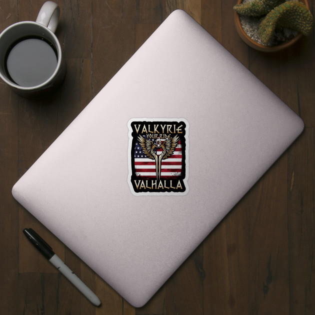 Valkyrie Your Ride To Valhalla Usa T Shirt Muninn Sticker Teepublic