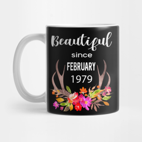 Beautiful Since February 1979 Boho Floral Birthday Gift Women Girls Ladies Mug