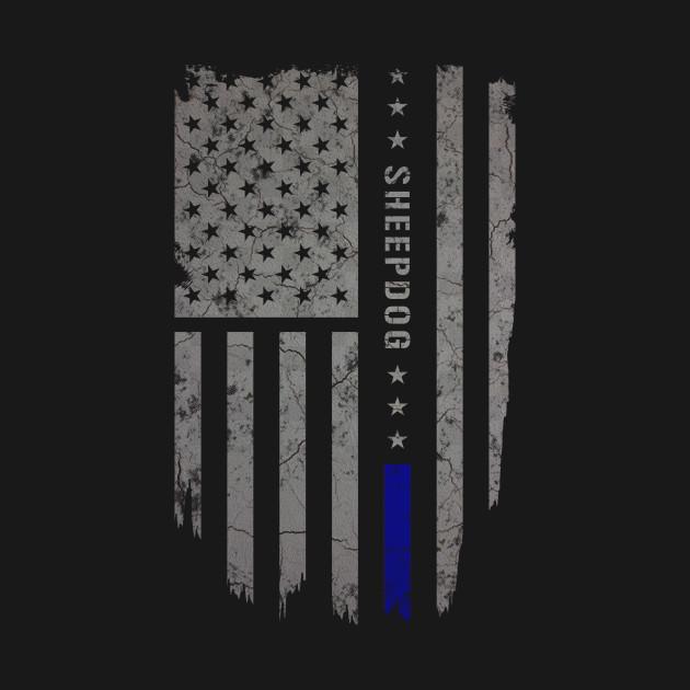 Blue Line Wallpaper: Sheepdog Thin Blue Line American Flag Shirt