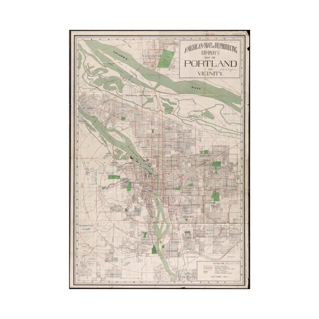 Vintage Map of Portland Oregon (1912)